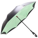 天堂伞 UPF50+双层车载反向伞全遮光黑胶直杆晴雨伞 绿色 79元