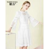 糖力2018秋装新款欧美女装白色七分袖高腰显瘦木耳领两件套连衣裙 米白 S 114元