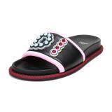 FENDI 芬迪 女士黑色粉色拼色皮革铆钉装饰拖鞋 8X6669 A15A F0BHU 37码2595元