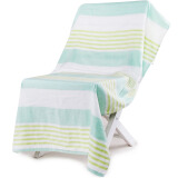 (限plus会员)SANLI 三利 森绿条纹纯棉浴巾 70×140cm 15.9元(需用券)