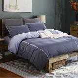 网易严选 纯棉色织缎纹四件套 时尚床上用品被套床单枕套床品套件 深灰色 1.5m 200*230cm 249元(需用券)