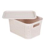 爱丽思IRIS 收纳盒多功能厨房卫生间塑料镂空藤编纹带盖储物整理收纳箱 S号米色 *3件 37.8元(合 12.6元/件)