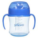 布朗博士(DrBrown's)软吸嘴训练杯宝宝学饮水杯180ml(6个月宝宝适用)TC61001(蓝色) 41元