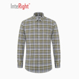 INTERIGHT 法兰绒 男士 休闲长袖衬衫 绿灰格纹 38码 *2件+凑单品96.8元(需用券,合48.4元/件) 96.80