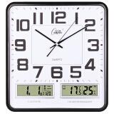 康巴丝(Compas)挂钟16英寸万年历温湿度钟表创意客厅静音时钟简约挂表方形日历石英钟C2983黑白 *7件 456元(合 65.14元/件)
