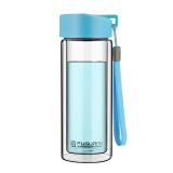 富光 耐热防烫便携提手水杯 男女士时尚 透明双层玻璃杯 天蓝色 280ml (G1311-280) *8件 140元(合17.5元/件)
