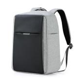 米熙mixi商务休闲双肩包立体时尚男学生书包USB充电笔记本电脑背包 16英寸蓝配黑M5539 黑灰色(可放14英寸笔记本) 59.00元