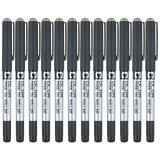 白雪(snowhite)0.38mm彩色直液式走珠笔中性笔签字笔水笔手账多色笔 黑色12支/盒PVN-159 *2件 23.2元(合 11.6元/件)