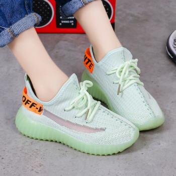 诗紊儿童运动鞋女2020夏季新款网布韩版中大童透气防滑休闲鞋 绿色 36码/内长约22.5cm
