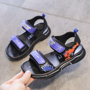 儿童男童蜘蛛侠凉鞋2020年新款夏天小孩时尚中大童软底男孩沙滩鞋 蓝色 34码内长21.4厘米