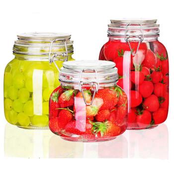 夸克密封罐3件套玻璃食品瓶子蜂蜜柠檬百香果瓶泡菜坛子带盖家用小储物罐子 方形750mL+1000mL+1500mL