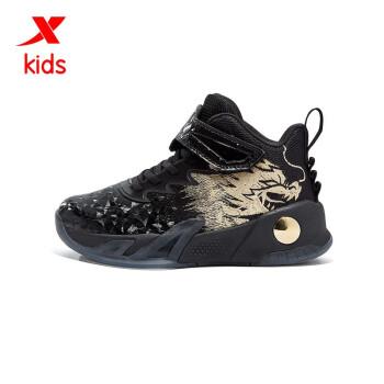 特步(XTEP)童鞋儿童篮球鞋男童高帮潮范火焰篮球鞋 680315124125 黑金 33码