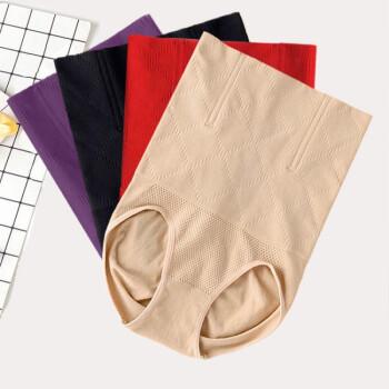 夏季新款2020高腰棉收腹裤无痕收胃提臀产后塑身美体裤女士塑身裤 紫色 M/L