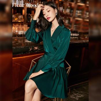 fleurwood缎面连衣裙女2021秋季新款时尚女装复古轻熟风绑带收腰中长裙气质显瘦 绿色 M