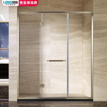 朗斯(LeNS)卫浴 定制淋浴房隔断 钢化玻璃平开门带框型 P31 8mm非标定制/铬色(不含石基
