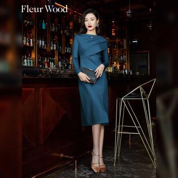 fleurwood一字领针织连衣裙2021春装新款御姐轻熟风修身显瘦高腰开衩中长裙气质 蓝色 M