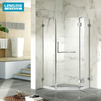朗斯(LENS)淋浴房钻石型钢化玻璃隔断形卫生间干湿分离平开门式简易洗澡间整体定制 珍妮A31 90cm*90cm*190/10mm/不含石基
