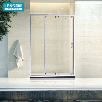 朗斯(LeNS)卫浴 定制淋浴房隔断 钢化玻璃三移门 凯曼系列P32 亮银 8mm非标定制/平米/不含石基