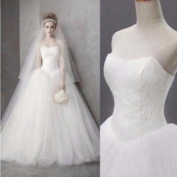 抹胸王薇薇婚纱拖尾新款简约软纱新娘结婚礼服 白色齐地款 S