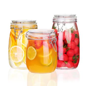 夸克密封罐3件套玻璃食品瓶子蜂蜜柠檬百香果瓶泡菜坛子带盖家用小储物罐子 圆形750mL+1000mL+1500mL