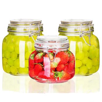 夸克密封罐3件套玻璃食品瓶子蜂蜜柠檬百香果瓶泡菜坛子带盖家用小储物罐子 方形750mL+1000mL+1000mL
