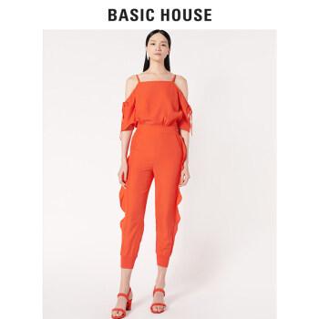 Basic House/百家好新款夏季纯色连体裤露肩直筒裤女吊带 橙红色 165/M