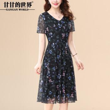 甘甘的世界 2020夏装新款女装印花连衣裙短袖显瘦优雅V领 黑色-05号 3XL