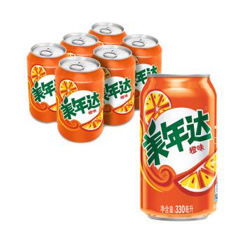 京东商城:限地区:Mirinda 美年达 橙味碳酸饮料 330ml*6罐9.9元