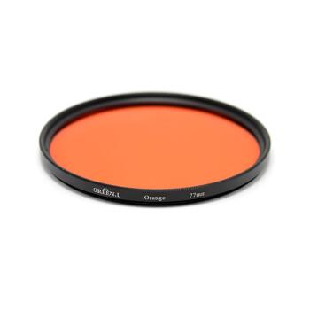 GreenL格林尔 全色滤镜 红橙黄绿蓝紫颜色树脂镜片镜头通用黑白特效摄影佳能尼康索尼 厂家经营包邮 橙色 77mm