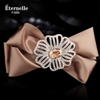 法国Eternelle采用施华洛世奇元素水晶边夹女发夹 头饰发卡发饰品顶夹 香槟黄