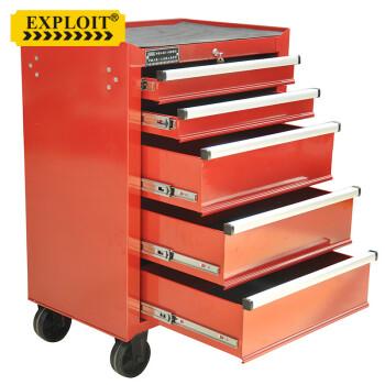 开拓(EXPLOIT) 多功能汽修工具车 配料零件工具柜 加厚铁皮五金工具车柜带轮带抽屉货柜 无货预售五层红色