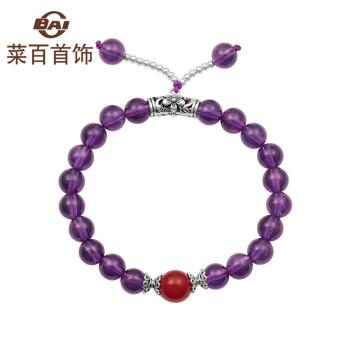 【520情人节礼物】菜百首饰 单圈配红玛瑙紫水晶手串 定价 JS