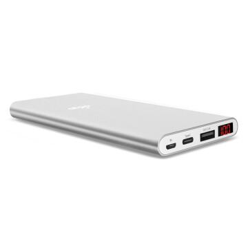 aigo 爱国者 10000毫安充电宝移动电源 N1屏显 聚合物电芯 支持Type-c与Micro USB双输入银色