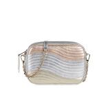 芙拉FURLA女士SWING系列合成革迷你金属色拼色波纹斜挎包单肩包相机包1043351