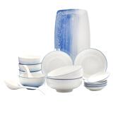 佳佰 天空蓝手绘陶瓷18头餐具套装 饭碗餐盘汤盘平盘鱼盘 釉下彩 129元