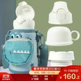 杯具熊(BEDDYBEAR)儿童保温杯带吸管儿童水杯316不锈钢保温儿童水壶630ml三盖口袋款 3D版-四叶草鳄鱼 160元