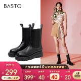 百思图20冬新款中筒厚底加绒切尔西靴女皮烟筒靴ID512DZ0黑色ID522DZ036