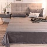 加密床单冬季保暖顺滑床上用品水晶绒床单法兰绒被单烟灰