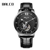 拜戈(Balco)黄宗泽男士机械手表瑞士品牌时尚镂空全自动机械表4224B 4224B黑色皮带 1639元