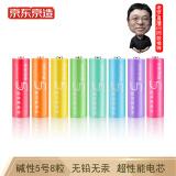 16点开始:J.ZAO 京东京造 5/7号超性能彩虹电池 8粒装 7.99元