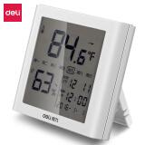 得力(deli) LCD带时间闹钟多功能电子温湿度计 白色8958 19.9元