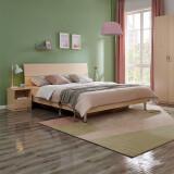 PLUS会员:QuanU 全友 106302+105001 简约板式床+床垫+床头柜 白橡木色 1.8m 1410元包邮(双重优惠)