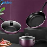 Midea 美的 锅具套装三件套厨具烹饪组合家用电磁炉燃气灶不粘锅炒锅奶锅煎锅全套MP-SL0305 紫色三件套 179元