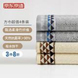 PLUS会员:京东京造 竹纤维方巾 4条装 8.97元(需买3件,共26.91元,双重优惠)