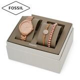化石(Fossil) 手表 欧美时尚气质石英女表 新款女士时装腕表 情人礼物 玫瑰金钢带手链礼盒套装BQ3349SET 1079元
