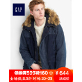 Gap官方旗舰店男装撞色连帽派克大衣936364 靛蓝色 S 484元