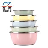 不锈钢五件套彩色圆形加厚加深厨房洗菜盆套装汤盆打蛋和面盆 5件套17 19 21 23 25CM 19.99元