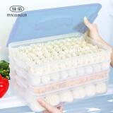 佳佰 饺子盒冰箱保鲜收纳盒冻水饺盒鸡蛋盒混沌盒速冻食物带盖托盘 3盒1盖透明蓝 40.72元
