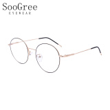 SooGree防蓝光眼镜男女近视光学眼镜框眼镜架复古个性优雅圆框G9004黑金色 69.3元(需买3件,共207.9元)
