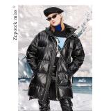 新款亮面中长款连帽宽松羽绒服女加厚面包服白鸭绒外套G012 黑色 XL 769.3元
